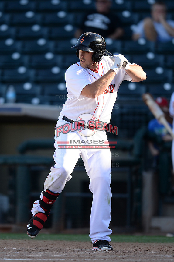 Surprise Saguaros first baseman Travis Shaw (20), of the Boston Red Sox organization, during an Arizona Fall League game against the Salt River Rafters on October 14, 2013 at Surprise Stadium in Surprise, Arizona.  Salt River defeated Surprise 3-2.  (Mike Janes/Four Seam Images)