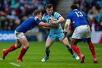 8th March 2020; Murrayfield Stadium, Edinburgh, Scotland; International Six Nations Rugby, Scotland versus France; George Horne of Scotland is tackled by Virimi Vakatawa of France