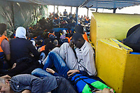 Mediterranean sea: On the boat, Abu Ali met many people from Soudan, Gaza and mainly Syrians.