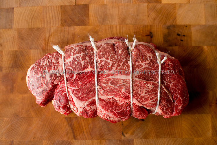 10/3/2016 -- Seattle, WA, USA<br /> <br /> Sous vide (beef) prepared by chef Grant Crilly at the Seattle offices of Chef Steps.<br /> <br /> Here: 2.26lbs of boneless beef chuck ready for preparation. You can truss the shoulder by tying cooking twine around the width of the shoulder spacing it every each of so. This will help it hold shape during and after the cook (helps hold form when cutting into individual steaks<br /> <br /> Photograph by Stuart Isett. &copy;2016 Stuart Isett. All rights reserved.