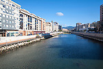 Straightened walled canalised channel of Rio Guadalmedina river, Malaga city centre, Spain