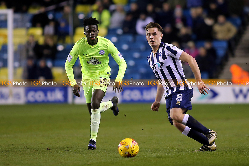 Millwall's Ben Thompson in action as Leonardo Da Silva Lopes of Peterborough looks on during Millwall vs Peterborough United, Sky Bet EFL League 1 Football at The Den on 28th February 2017
