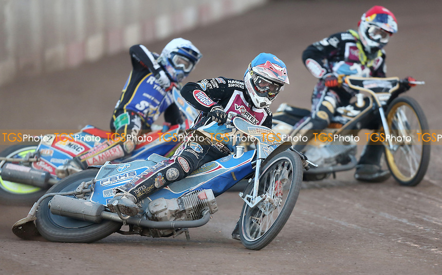 Heat 8: Mikkel Bech (red), Robert Lambert (white) and Ashley Birks (blue) - Lakeside Hammers vs Kings Lynn Stars, Elite League Speedway at the Arena Essex Raceway, Pufleet - 19/06/15 - MANDATORY CREDIT: Rob Newell/TGSPHOTO - Self billing applies where appropriate - 0845 094 6026 - contact@tgsphoto.co.uk - NO UNPAID USE