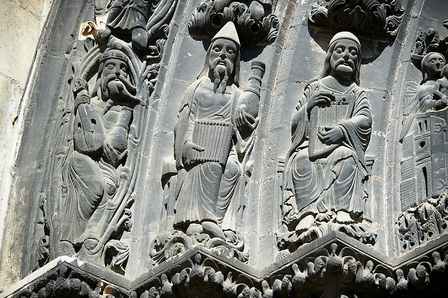 Medieval sculptures from the central portal of the Gothic Cathedral Basilica of Saint Denis ( Basilique Saint-Denis ) Paris, France. A UNESCO World Heritage Site.