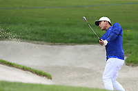 Rak Hyun Cho (KOR) chips from a bunker at the 18th green during Saturday's storm delayed Round 2 of the Andalucia Valderrama Masters 2018 hosted by the Sergio Foundation, held at Real Golf de Valderrama, Sotogrande, San Roque, Spain. 20th October 2018.<br /> Picture: Eoin Clarke | Golffile<br /> <br /> <br /> All photos usage must carry mandatory copyright credit (&copy; Golffile | Eoin Clarke)