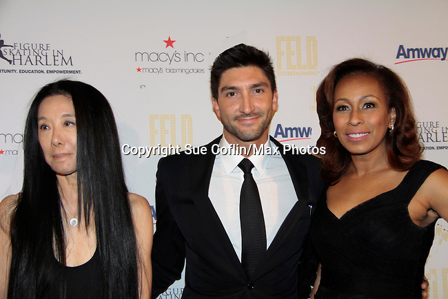 Designer Vera Wang & Olympic Figure Skater Champsion& Evan Lysacek & As The World Turns' Tamara Tunie - 10th Annual Gala celebrating Figure Skating in Harlem's 18th year of operations at The Stars 2015 Benefit on April 13, 2015 in New York City, New York honoring Olympic Champion Evan Lysacek. (Photo by Sue Coflin/Max Photos)