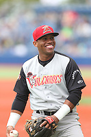 Miguel Gomez (2) of the Salem-Keizer Volcanoes before a game against the Hillsboro Hops at Ron Tonkin Field on July 26, 2015 in Hillsboro, Oregon. Hillsboro defeated Salem-Keizer, 4-3. (Larry Goren/Four Seam Images)