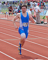 Bolivar senior Haryl Starkey nears the finshline of the Class 3 Boys 400 meter dash final where he finished 7th in 52.84 to earn his third All-State honor of the 2013 MSHSAA Class 3-4 State High School Track an d Field Championships in Jefferson City.