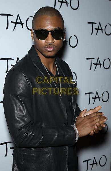 Trey Songz (Tremaine Aldon Neverson).Special Appearance by Trey Songz at TAO inside the Venetian Las Vegas for Memorial Day Weekend, Las Vegas, Nevada, USA, 25th May 2012..half length  black leather jacket sunglasses hands .CAP/ADM/MJT.© MJT/AdMedia/Capital Pictures.