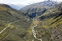 Switzerland, Rhonegletscher; Furkapass; Grimselpass; Rhone; Wallis; Uri; Schweiz; Alpen; Passstrasse, Mountain pass