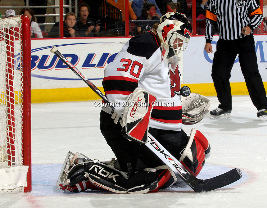 New Jersey Devils' goalie Martin Brodeur makes a save against the Carolina Hurricanes Thursday, March 15, 2007 at the RBC Center in Raleigh, NC. New Jersey won 3-2.