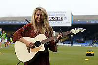 The Voice season 13 contestant Megan Rose performs before Southend United vs Portsmouth, Sky Bet EFL League 1 Football at Roots Hall on 16th February 2019