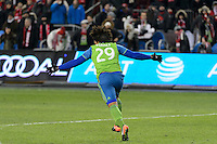 Toronto, ON, Canada - Saturday, Dec. 10, 2016: Roman Torres celebrates scoring the last penalty kick during the MLS Cup finals at BMO Field. The Seattle Sounders FC defeated Toronto FC on penalty kicks after playing a scoreless game.