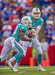 14 September 2014: Miami Dolphins quarterback Ryan Tannehill hands off to running back Damien Williams during play against the Buffalo Bills at Ralph Wilson Stadium in Orchard Park, NY. The Bills defeated the Dolphins 29-10 to win their home opener and start the season with a 2-0 record. Mandatory Credit: Ed Wolfstein Photo *** RAW (NEF) Image File Available ***