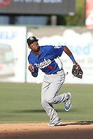 Casio Grider #3 of the Rancho Cucamonga Quakes during a game against the Inland Empire 66ers at San Manuel Stadium on August 10, 2014 in San Bernardino, California. Inland Empire defeated Rancho Cucamonga, 4-1. (Larry Goren/Four Seam Images)