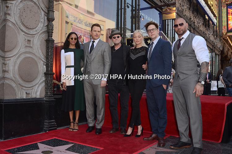 LOS ANGELES - APR 21:  Zoe Saldana, Chris Pratt, Michael Rooker, Pom Klementieff, James Gunn, Dave Bautista at the Walk of Fame Star Ceremony on the Hollywood Walk of Fame on April 21, 2017 in Los Angeles, CA