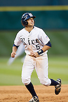 Rice Owls second baseman Christian Stringer #5 on the base path during the NCAA baseball game against the North Carolina Tar Heels on March 1st, 2013 at Minute Maid Park in Houston, Texas. North Carolina defeated Rice 2-1. (Andrew Woolley/Four Seam Images).