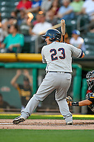 Jesus Sucre (23) of the Tacoma Rainiers at bat against the Salt Lake Bees in Pacific Coast League action at Smith's Ballpark on July 23, 2016 in Salt Lake City, Utah. The Rainiers defeated the Bees 4-1. (Stephen Smith/Four Seam Images)