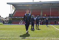 Matt Bloomfield of Wycombe Wanderers looks over the pitch ahead of the Sky Bet League 2 match between Grimsby Town and Wycombe Wanderers at Blundell Park, Cleethorpes, England on 4 March 2017. Photo by Andy Rowland / PRiME Media Images.