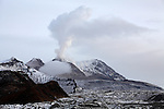 Steaming lava dome of Shiveluch Volcano, Kamchatka, Russia.