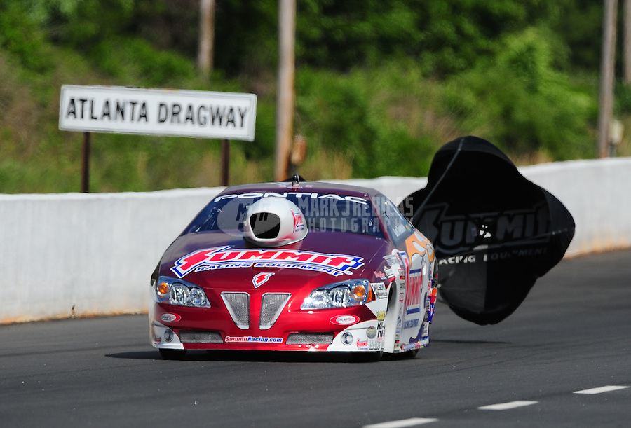 May 15, 2011; Commerce, GA, USA: NHRA pro stock driver Greg Anderson during the Southern Nationals at Atlanta Dragway. Mandatory Credit: Mark J. Rebilas-