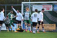 VOETBAL: JOURE: 09-11-2014, Sportpark de Hege Simmerdyk, SC Joure - VV Bergum, uitslag 3-1, Sjoerd Jellema (2e van links) scoorde de 3-1 voor SC Joure, ©foto Martin de Jong
