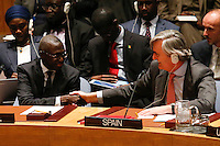 Roman Oyarzun, (R ) Spain permanent representative to U.N.  shakes hands with Fode Seck, Senegal permanent representative to U.N. during a meeting with Members of the Security Council related to the precarious security situation in Mali, at the United Nations Headquarter in New York, 01/11/2016 Photo by VIEWpress