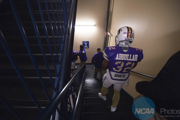 FRISCO, TX - JANUARY 07:  Khalid Abdullah (32) of James Madison University prepares to take on Youngstown State University during the Division I FCS Football Championship held at Toyota Stadium on January 7, 2017 in Frisco, Texas. James Madison defeated Youngstown State 28-14 for the national title. (Photo by Jamie Schwaberow/NCAA Photos via Getty Images)