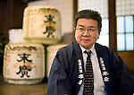 Photo shows Suehiro Sake Brewery in Aizu-wakamatsu City, Fukushima, Japan on 15 March 2013.  Photographer: Robert GilhoolyInokichi Shinjo, president of Suehiro Sake Brewery Co. poses for a photo at the company's brewery in Aizu-wakamatsu City, Fukushima, Japan on 15 March 2013.  Photographer: Robert Gilhooly