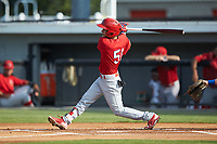 Jonatan Machado (51) of the Johnson City Cardinals follows through on his swing against the Burlington Royals at Burlington Athletic Stadium on July 15, 2018 in Burlington, North Carolina. The Cardinals defeated the Royals 7-6.  (Brian Westerholt/Four Seam Images)