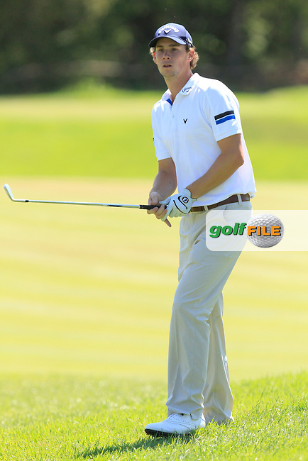 Thomas Pieters (BEL) on the 9th fairway during Round 3 of the Open de Espana  in Club de Golf el Prat, Barcelona on Saturday 16th May 2015.<br /> Picture:  Thos Caffrey / www.golffile.ie