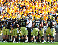 06 September 08: Colorado assistant head coach Jeff Grimes speaks to the offensive line during a game against Eastern Washington. Colorado Buffaloes defeated the Eastern Washington 31-24 at Folsom Field in Boulder, Colorado. FOR EDITORIAL USE ONLY