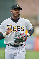 Jabari Blash (36) of the Salt Lake Bees during the game against the Sacramento River Cats at Smith's Ballpark on April 19, 2018 in Salt Lake City, Utah. Salt Lake defeated Sacramento 10-7. (Stephen Smith/Four Seam Images)