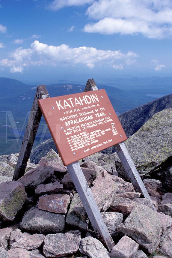Baxter Park, Mt. Katahdin, Appalachian Trail, Maine, ME, Terminus of the Appalachian Trail sign on the summit of Mt. Katahdin in Baxter State Park.