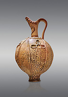 Minoan decorated ritual ewer with a sacral knot relief , Konssos-Little Palace 1450-1370 BC; Heraklion Archaeological  Museum, grey background