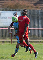 Simeon Weekes of Flackwell Heath during the UHLSport Hellenic Premier League match between Flackwell Heath v Tuffley Rovers at Wilks Park, Flackwell Heath, England on 20 April 2019. Photo by Andy Rowland.