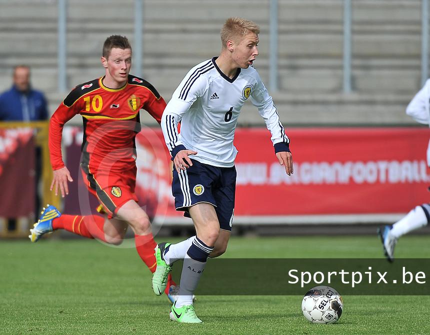 Scotland U19 - Belgium U19 : Jamie Lindsay (6) and Rob Schoofs.foto DAVID CATRY / Nikonpro.be