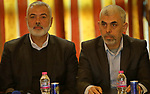 Hamas leader Ismail Haniya and Hamas's leader in the Gaza Strip Yahya Sinwar attend a meeting with heads of Palestinian families in Gaza city on December 26, 2017. Photo by Ashraf Amra