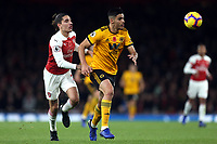 Hector Bellerin of Arsenal and Raul Jimenez of Wolves during Arsenal vs Wolverhampton Wanderers, Premier League Football at the Emirates Stadium on 11th November 2018