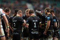 Northampton Saints forwards huddle together during a break in play. Gallagher Premiership match, between Northampton Saints and Leicester Tigers on October 6, 2018 at Twickenham Stadium in London, England. Photo by: Patrick Khachfe / JMP