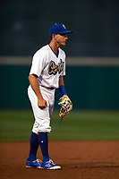Rancho Cucamonga Quakes third baseman Rylan Bannon (25) during a California League game against the Lake Elsinore Storm at LoanMart Field on May 19, 2018 in Rancho Cucamonga, California. Lake Elsinore defeated Rancho Cucamonga 10-7. (Zachary Lucy/Four Seam Images)