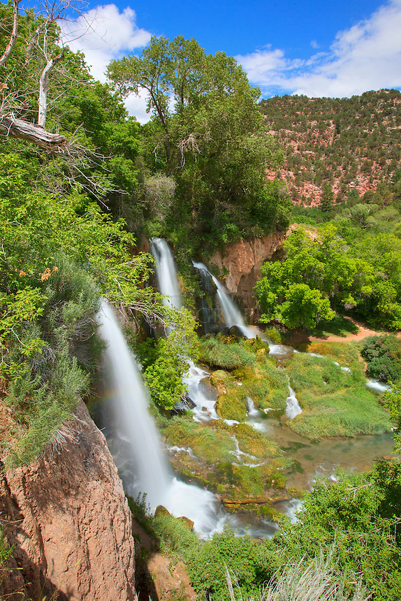 Rifle Falls State Park is west of Glenwood Springs and about 14 miles north of Rifle, Colorado. It is a small state park, but offers one scenic waterfall - Rifle Falls. During the spring and summer when the snows are melting, the three waterfalls can be quite a treat to enjoy. There is a short trail that takes you above the falls and by some caves - great for exploring if you have a few hours and you are near Glenwood Springs.