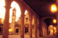 Cuba, Havana. Catedral de San Cristobal de La Habana and the Plaza de la Catedral at dusk<br />