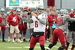 Peyton Bender fires a pass during the annual Washington State Cougar spring game, the Crimson and Gray game, at Joe Albi Stadium in Spokane, Washington, on April 25, 2015.