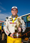 Richie Crampton, DHL, top fuel, victory, celebration, trophy