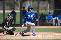 Kansas City Royals center fielder Blake Perkins (0) follows through on his swing in front of catcher Evan Skoug (27) during an Instructional League game against the Chicago White Sox at Camelback Ranch on September 25, 2018 in Glendale, Arizona. (Zachary Lucy/Four Seam Images)