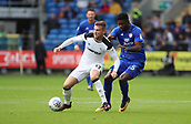 30th September 2017, Cardiff City Stadium, Cardiff, Wales; EFL Championship football, Cardiff City versus Derby County; Sam Winnall of Derby County contains the ball from Bruno Ecuele Manga of Cardiff City
