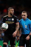 1st March 2020; Wembley Stadium, London, England; Carabao Cup Final, League Cup, Aston Villa versus Manchester City; Assistant Referees Harry Lennard giving instructions to Kyle Walker of Manchester City - Strictly Editorial Use Only. No use with unauthorized audio, video, data, fixture lists, club/league logos or 'live' services. Online in-match use limited to 120 images, no video emulation. No use in betting, games or single club/league/player publications