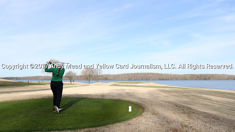 BROWNS SUMMIT, NC - APRIL 02: Notre Dame's Isabella DiLisio tees off on the 14th hole. The third round of the Bryan National Collegiate Women's Golf Tournament was held on April 2, 2017, at the Bryan Park Champions Course in Browns Summit, NC.