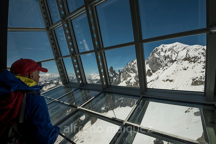 Window in Helbronner Point with the Mont Blanc view, Italian Alps, Italy